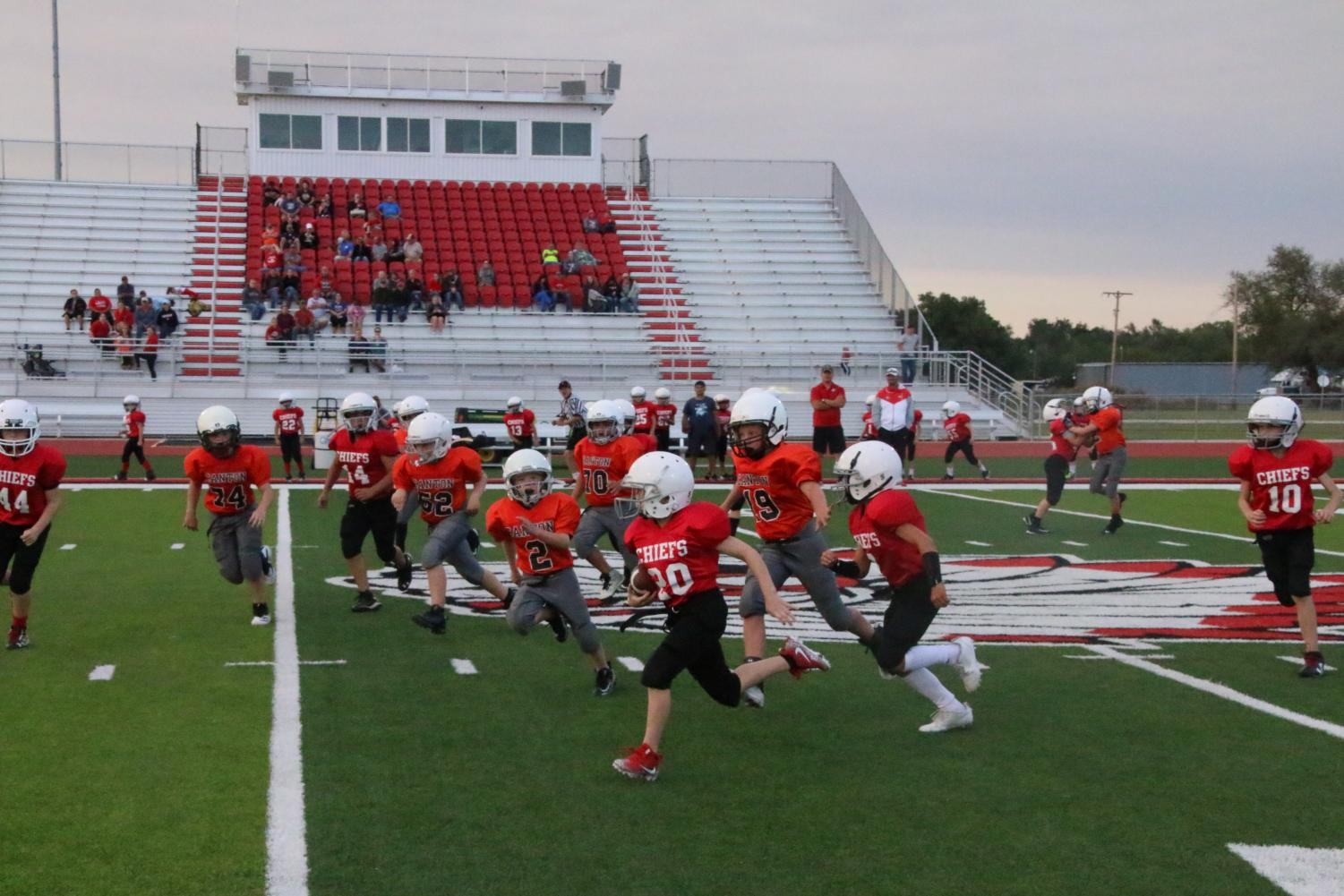 The Tigers try to stop the Cherokee offence.