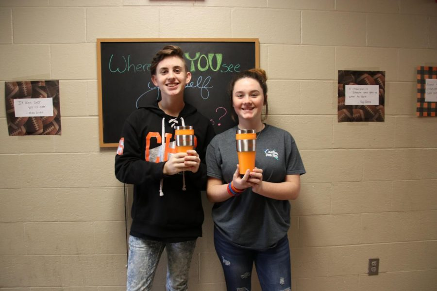 Freshmen newspaper students, Braxton Thompson and Erica Moldrup, won the freshman fairy tale awards.  The received Tiger Media cups as a prize.