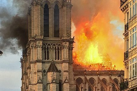 Nore Dame Cathedral Falls to Fire