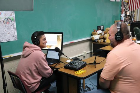 Luke Foster interviews candidate Travis Daugherty for his podcast. Daugherty gave his time for the interview Monday morning.
