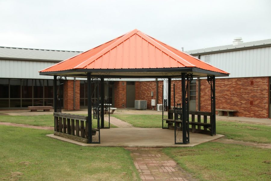 The newly remodeled gazebo sits empty due to the recent weather and Covid-19 restrictions.