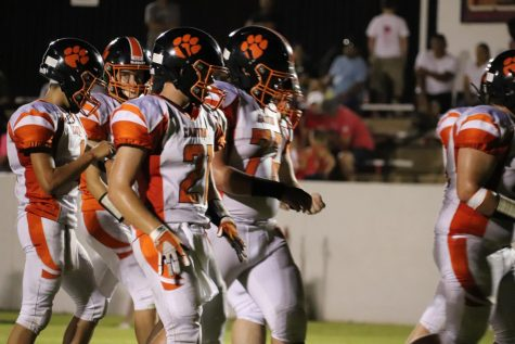 The Tigers get ready to run a play.