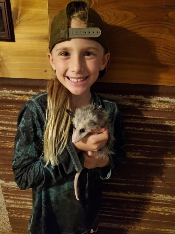Elementary student Denny Miller shows off her pet opossum.