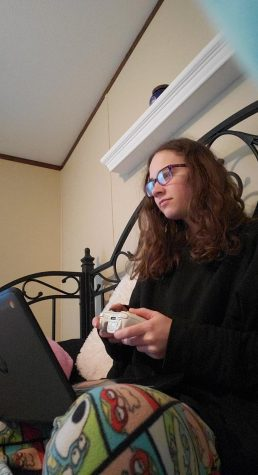 Senior Alexis Beckner realizes that video games are so much easier than a virtual class.