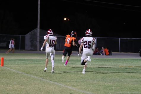 Brandon Day leaves Waurika player behind and scores a touchdown.